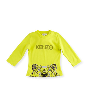Long-Sleeve Crew-Neck Jersey Tee, Bright Yellow, Size 12M-2Y