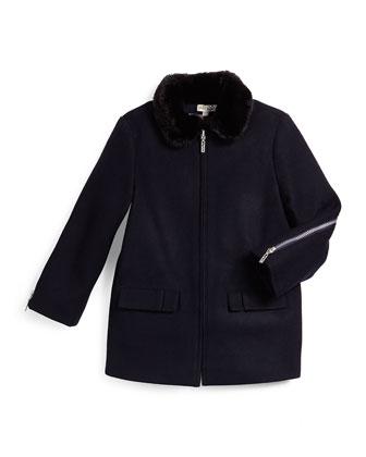 Zip-Front Wool-Blend Coat w/ Faux Fur, Marine Blue, Size 6-10