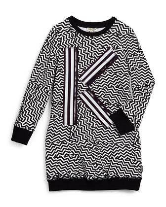 Long-Sleeve Zigzag-Print Knit Sheath Dress, Black/White, Size 6-10