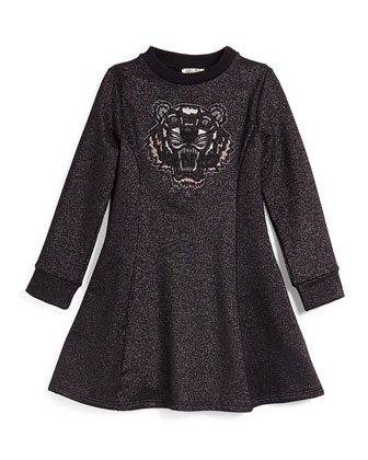 Long-Sleeve Metallic Fit-and-Flare Dress, Black, Size 6Y-10Y