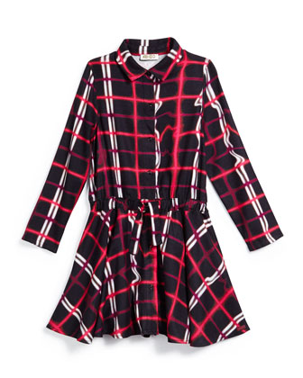 Plaid Drawstring A-Line Dress, Black/Red, Size 14-16