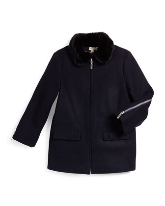 Zip-Front Wool-Blend Coat w/ Faux Fur, Marine Blue