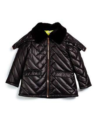 Faux-Fur-Trim Puffer Coat, Black, Size 6Y-10Y