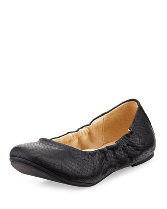 Embossed Faux-Leather Ballet Flat, Black, Youth
