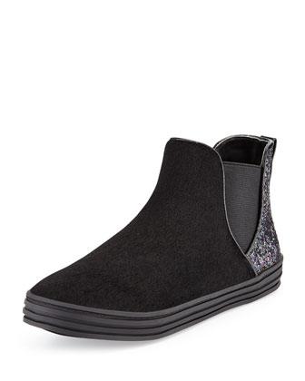 Faux-Fur Glitter-Trim Chelsea Boot, Black, Youth