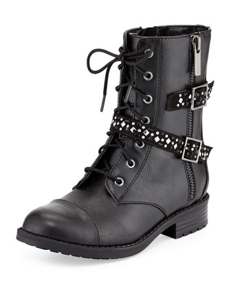 Faux-Leather Buckle-Trim Moto Boot, Black, Youth