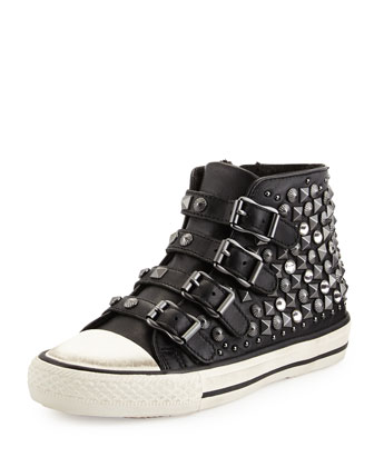 Viper Studded Leather High-Top Sneaker, Black, Toddler