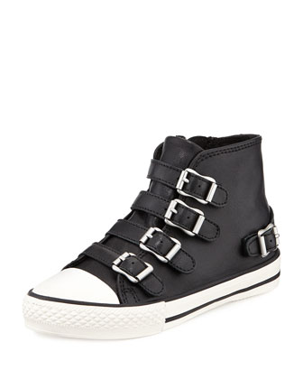 Buckled Leather High-Top Sneaker, Toddler