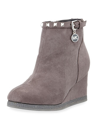 Cara Faux-Suede Wedge Bootie, Charcoal, Youth