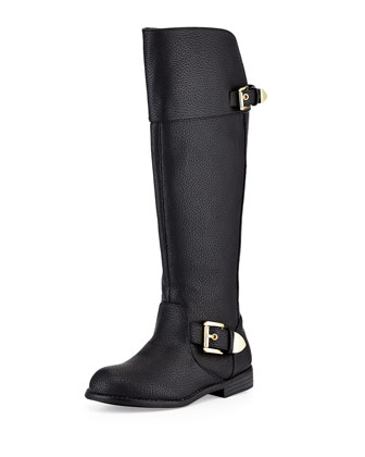 Emalna Faux-Leather Riding Boot, Black, Youth
