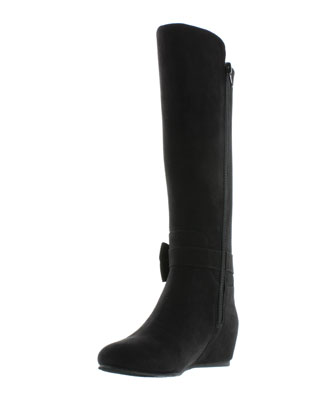 Studded-Bow Microsuede� Riding Boot, Black, Youth