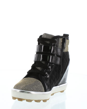 Microsuede� Hidden-Wedge High-Top Sneaker, Black, Size Youth