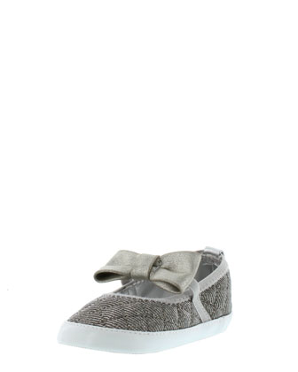 LaylaFaux-Suede-Trim Quilted Mary Jane, Silver, Infant