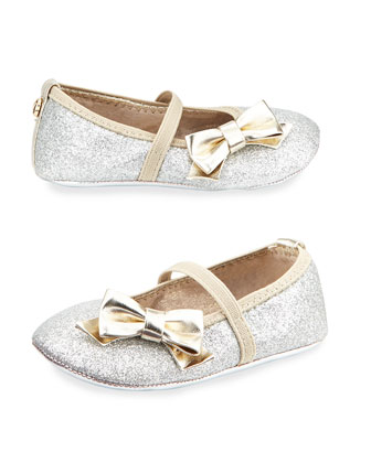 Glittered Faux-Leather Ballet Flat, Silver, Infant
