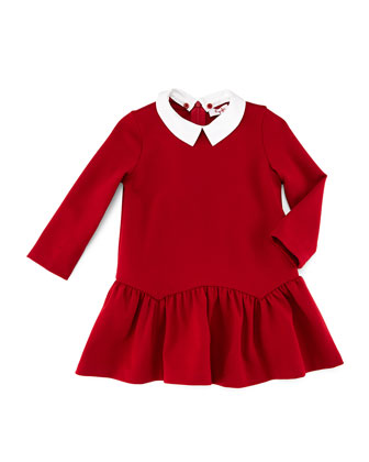 Long-Sleeve Ponte Fit-and-Flare Dress, Red, Size 2-4