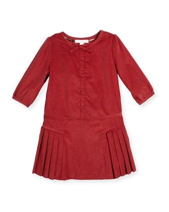 Celie Pleated Corduroy Dress, Peony Rose, Size 4-14