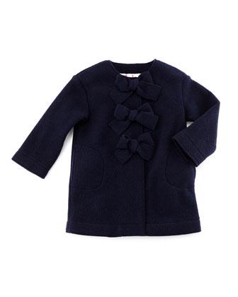 Fleece Button-Front Coat w/ Bows, Navy
