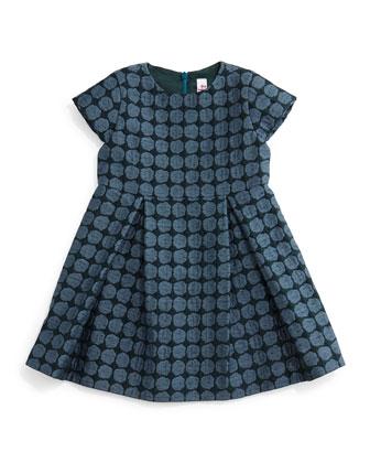 Cap-Sleeve Woven Polka-Dot Dress, Slate, Size 5-8