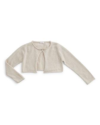 Knit Wool-Blend Bolero, Beige, Size 5-8