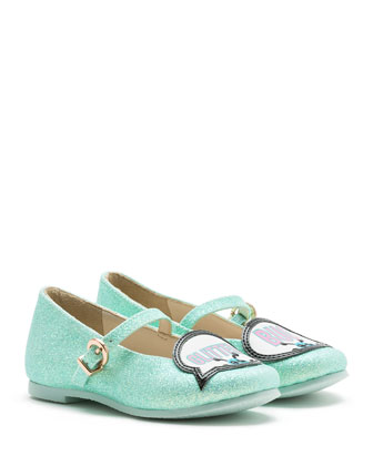 Tyler Glitter Bug Mary Jane Flat, Spearmint, Toddler