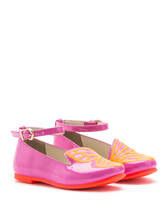 Bibi Faux-Leather Butterfly Flat, Fuchsia, Toddler