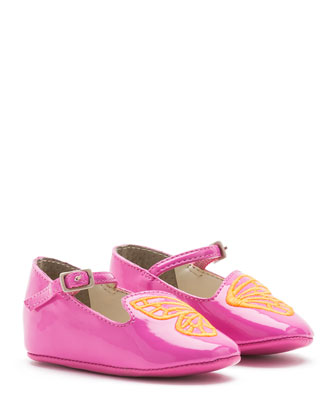 Bibi Faux-Leather Butterfly Flat, Fuchsia, Infant