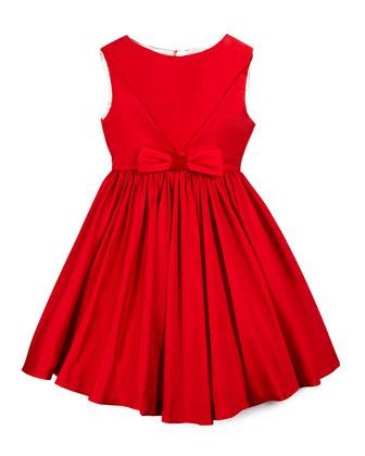 Sleeveless Taffeta Party Dress, Red, Size 4-6