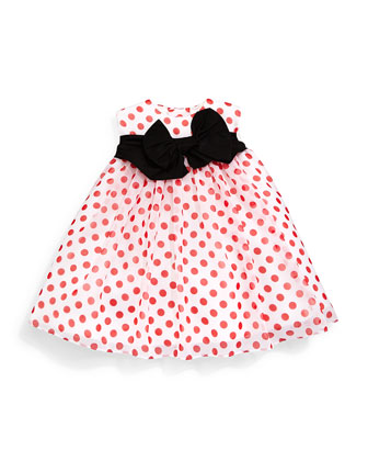 Sleeveless Polka-Dot Chiffon Dress, Red/White, Size 6M-3