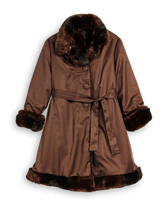 Reversible Button-Front Trenchcoat w/ Faux Fur, Brown, Size 7-14