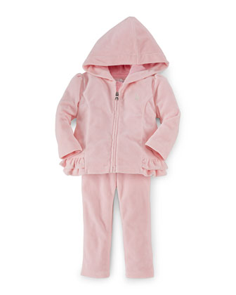 Hooded Velour Sweater & Pants, Classic Pink, Size 9-24 Months