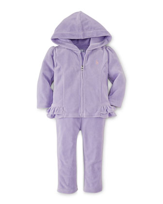 Hooded Velour Sweater & Pants, Powder Purple, Size 9-24 Months