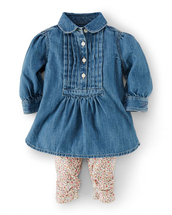 Long-Sleeve Denim Tunic & Floral Leggings, Blue, Size 9-24 Months