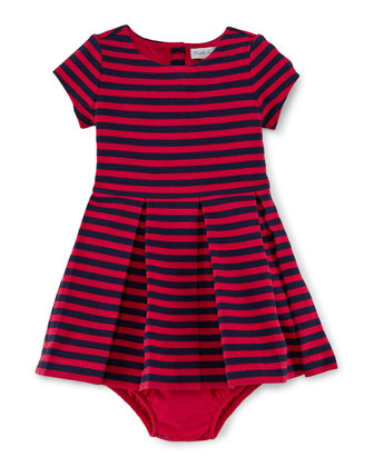 Striped Cap-Sleeve Dress & Bloomers, Sport Pink, Size 9-24 Months