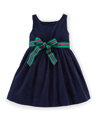 Sleeveless Corduroy A-Line Dress, French Navy, Size 9-24 Months