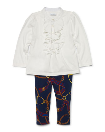 Poplin Draped-Front Top & Equestrian-Print Leggings, Trophy Cream, Size ...