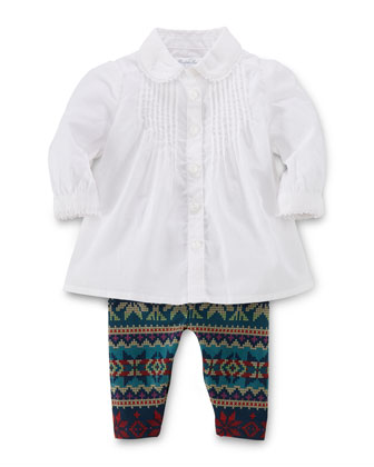 Batiste Bib-Front Tunic & Printed Leggings Set, White, Size 9-24 Months
