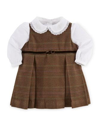 Glen Plaid Jumper & Lace-Trim Poplin Shirt, Brown, Size 9-24 Months