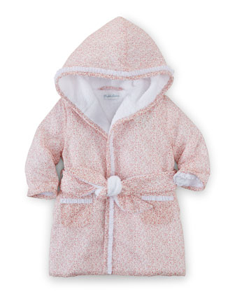 Hooded Floral Cotton Robe, Pink, Size 3-9 Months