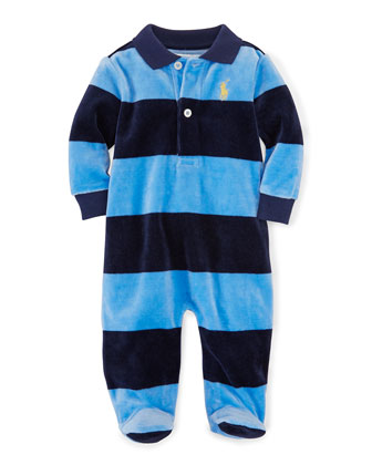 Striped Velour Footie Pajamas, Sky Blue, Size 3-9 Months