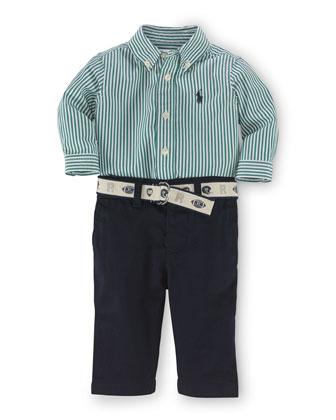 Striped Poplin Shirt, Twill Pants & Belt, White/Green, Size 9-24 Months