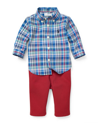 Long-Sleeve Plaid Shirt & Twill Pants, Light Blue/Red, Size 9-24 Months