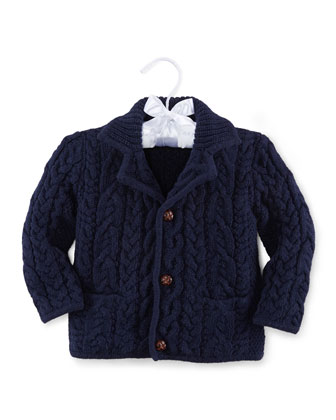 Cable-Knit Button-Front Sweater, French Navy, Size 3-24 Months