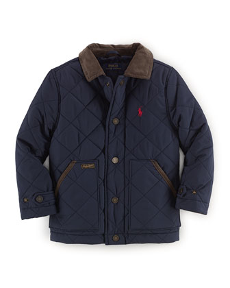 Corduroy-Trim Matte Quilted Coat, Aviator Navy, Size 2T-7