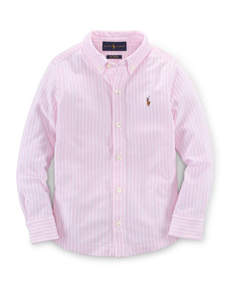 Long-Sleeve Striped Oxford Shirt, Carmel Pink, Size 2T-7