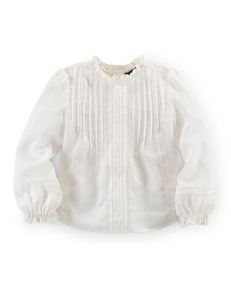 Long-Sleeve Crepe Pintucked Top, Sand Dollar, Size 2T-6X