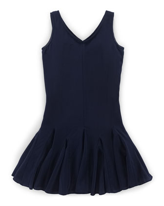 Sleeveless Silk Fit-and-Flare Dress, Aviator Navy, Size 2T-6X