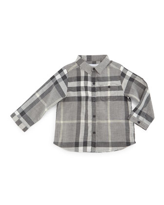 Trauls Check Poplin Shirt, Medium Gray Melange, Size 3M-3Y
