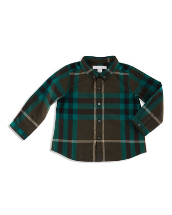 Fred Mini Long-Sleeve Check Shirt, Olive Green, Size 3M-3Y