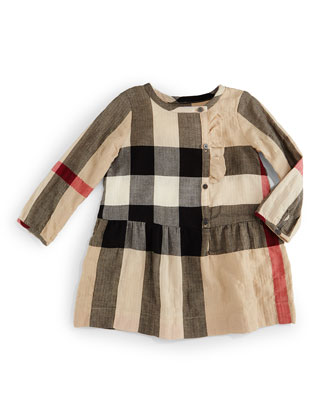 Alaya Check Button-Front Dress, Size 3M-3Y
