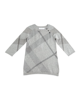 Kahlan Knit Check-Print Shift Dress, Pale Gray Melange, Size 3M-3Y